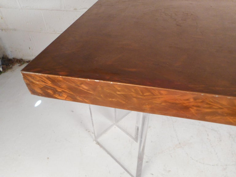 Mid-Century Modern Metal and Lucite Dining Table For Sale 3