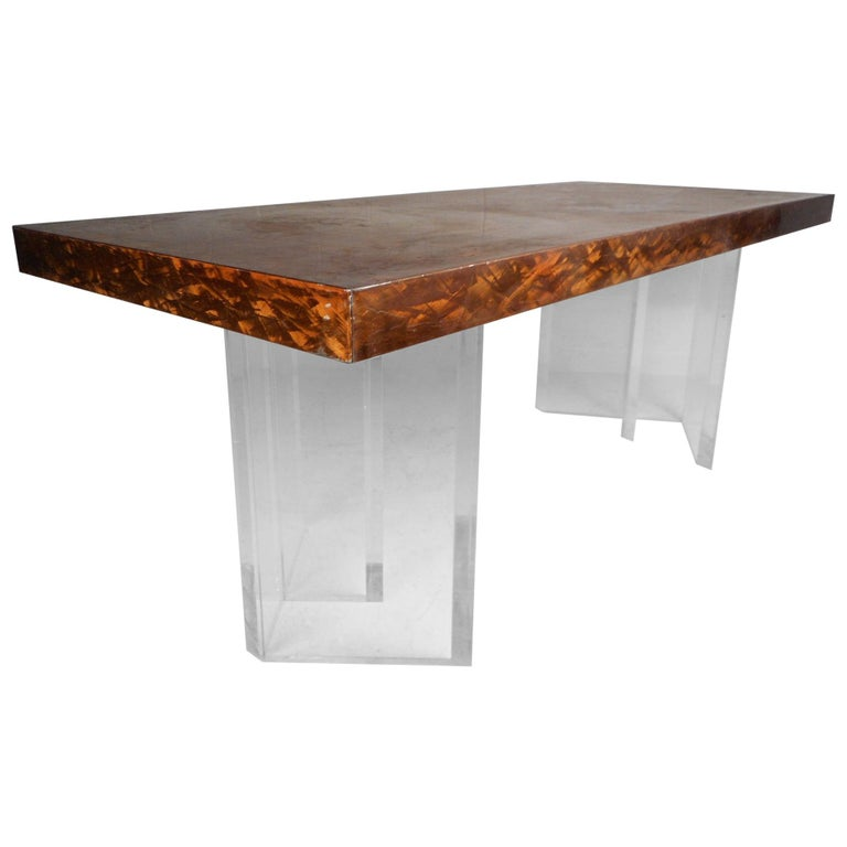 Mid-Century Modern Metal and Lucite Dining Table For Sale
