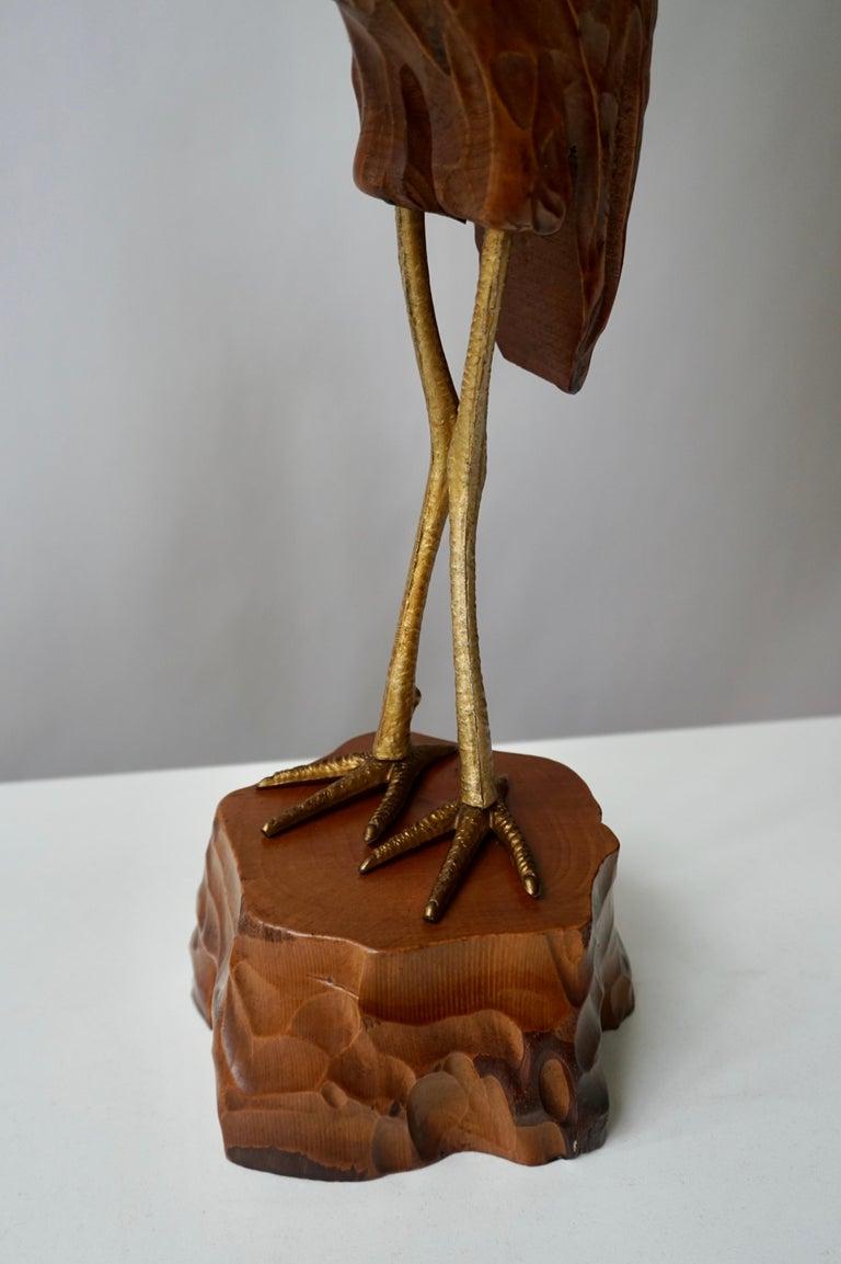 Mid-Century Modern Metal and Wood Ibis Bird Sculptures For Sale 6
