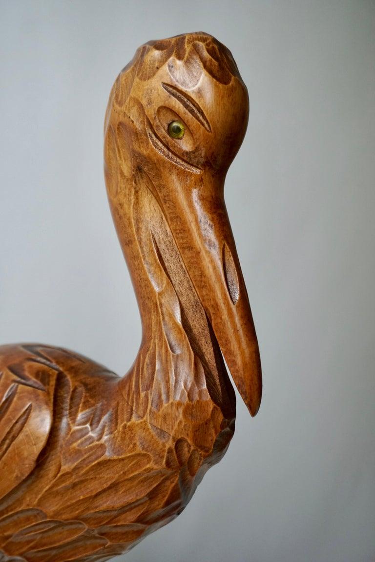 Mid-Century Modern Metal and Wood Ibis Bird Sculptures For Sale 8