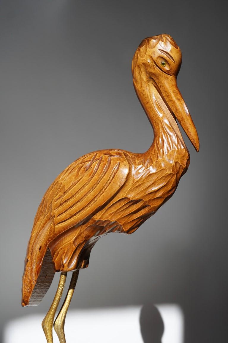 Mid-Century Modern Metal and Wood Ibis Bird Sculptures For Sale 10
