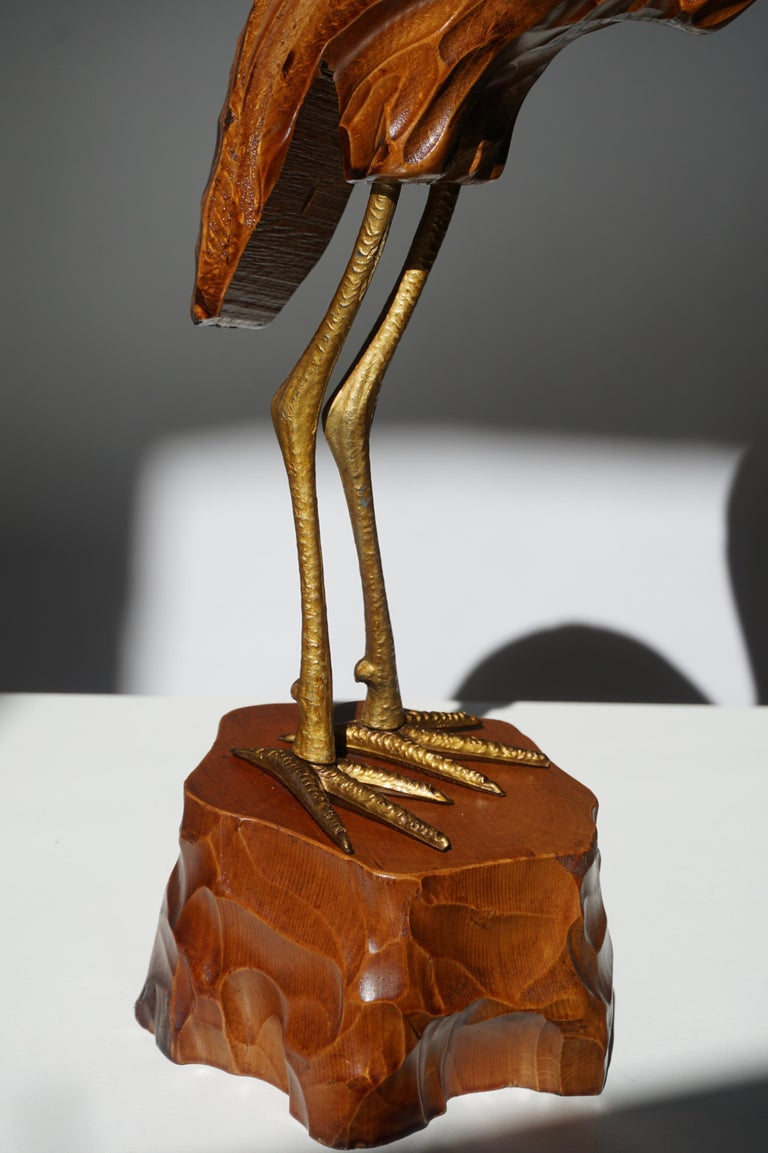 Mid-Century Modern Metal and Wood Ibis Bird Sculptures For Sale 11