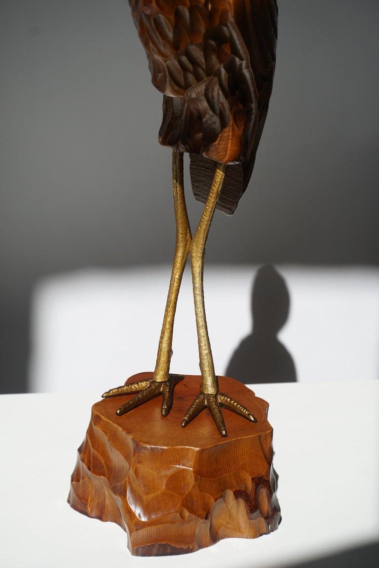 Mid-Century Modern Metal and Wood Ibis Bird Sculptures For Sale 12