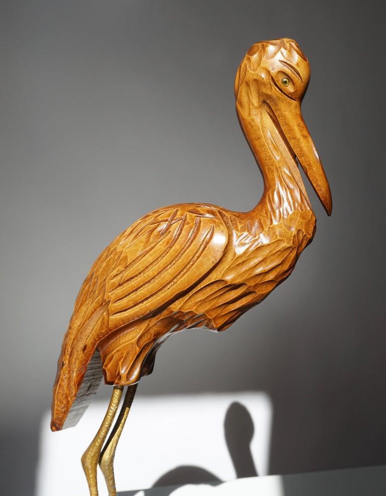 Mid-Century Modern Metal and Wood Ibis Bird Sculptures For Sale 13