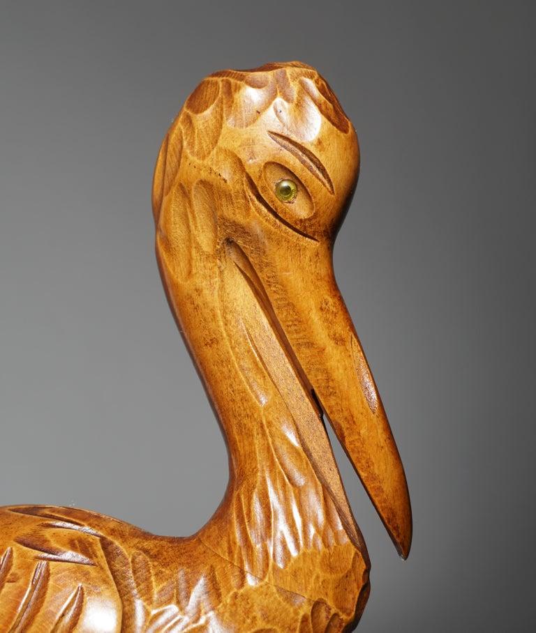 Mid-Century Modern Metal and Wood Ibis Bird Sculptures For Sale 14