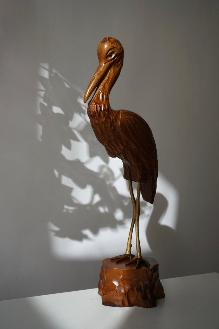 Mid-Century Modern Metal and Wood Ibis Bird Sculptures In Good Condition For Sale In Antwerp, BE
