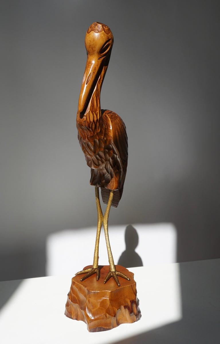 20th Century Mid-Century Modern Metal and Wood Ibis Bird Sculptures For Sale