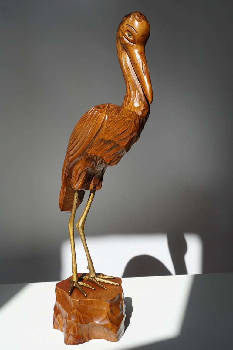 Mid-Century Modern Metal and Wood Ibis Bird Sculptures For Sale 1