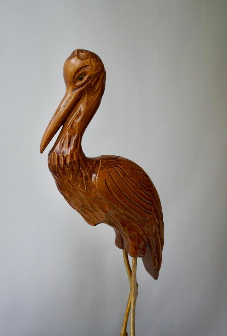 Mid-Century Modern Metal and Wood Ibis Bird Sculptures For Sale 3