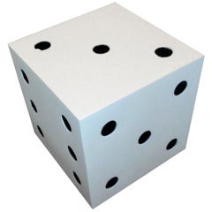 Mid-Century Modern Metal Black and White Dice Sculpture