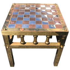 Mid-Century Modern Metal Chess Board Table