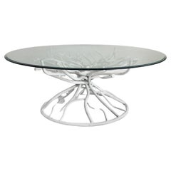 Mid-Century Modern Metal Faux-coral Twig Coffee Table, Beveled Glass Top