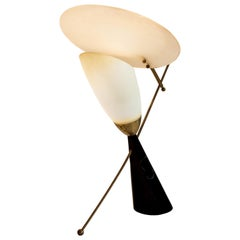 Mid-Century Modern Metal, Glass and Acrylic Reflector Jean B. Lacroix Attributed