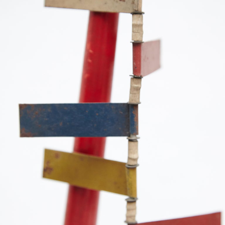Mid-Century Modern Metal Red Blue Yellow Green White Sculpture For Sale 4