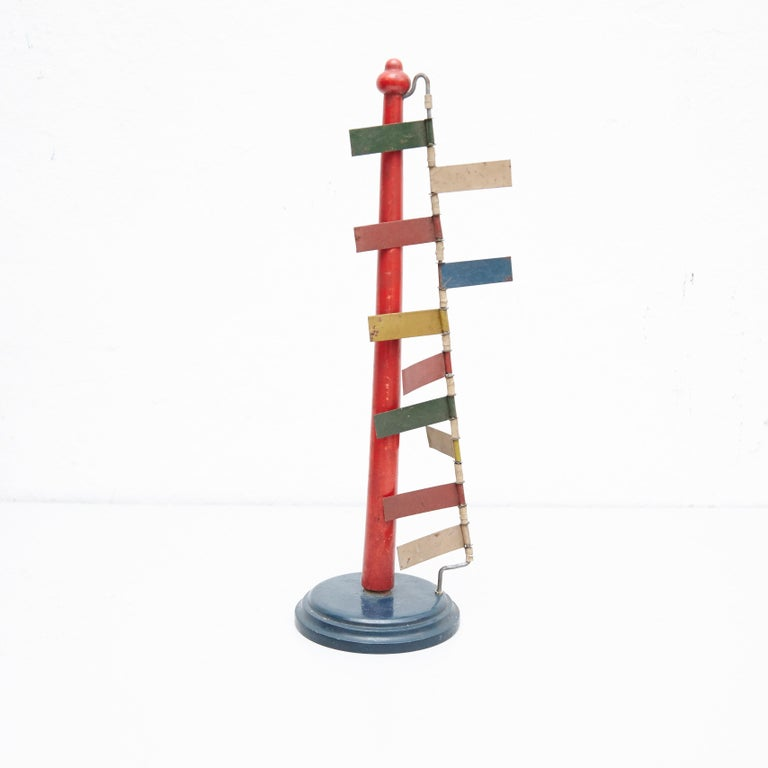 Mid-Century Modern Metal Red Blue Yellow Green White Sculpture For Sale 2