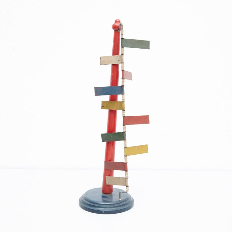 Mid-Century Modern Metal Red Blue Yellow Green White Sculpture For Sale 3