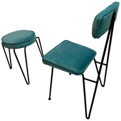 Mid-Century Modern Metal Wire Chair and Ottoman