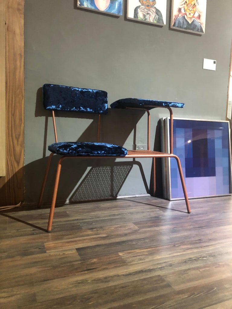 Mid Century Modern Metal Wire Telephone Table And Bench