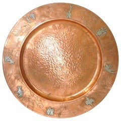 Mid-Century Modern Mexican Copper Platter with Sterling Figures, circa 1950s