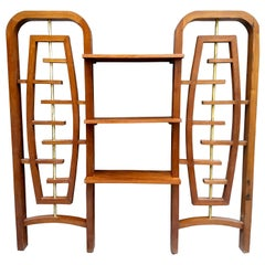 Mid-Century Modern Mexican Room Divider with Shelves in Mahogany and Brass