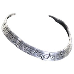 Mid-Century Modern Mexican Sterling Silver Geometric Linked Choker Necklace