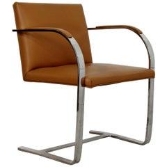Mid-Century Modern Mies Van Der Rohe BRNO Style Flat Bar Chrome Armchair 1970s
