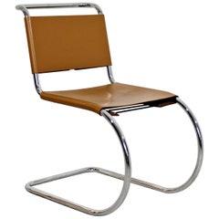 Mid-Century Modern Mies Van Der Rohe Knoll Mr Leather Chrome Chair 1970s, Italy