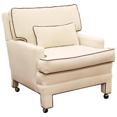 Mid-Century Modern Milo Baughman Attr. Large White Lounge Armchair Brown Trim