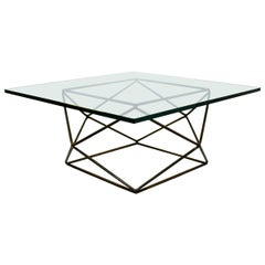 Mid-Century Modern Milo Baughman Bronzed Steel Geodesic Coffee Table, 1970s