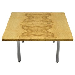 Mid-Century Modern Milo Baughman Burl & Chrome Burl Wood Square Coffee Table