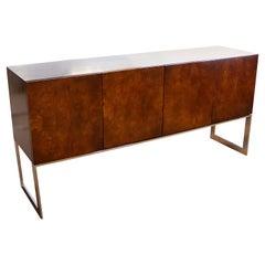 Mid-Century Modern Milo Baughman Burl Wood Chrome Sideboard Credenza, 1970s