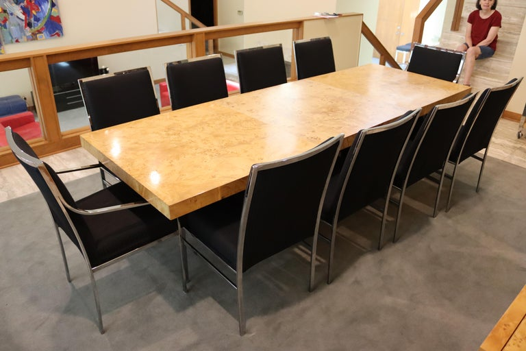 Mid-Century Modern Milo Baughman Burl Wood Expandable Dining Table 2 Leaves 80s For Sale 8