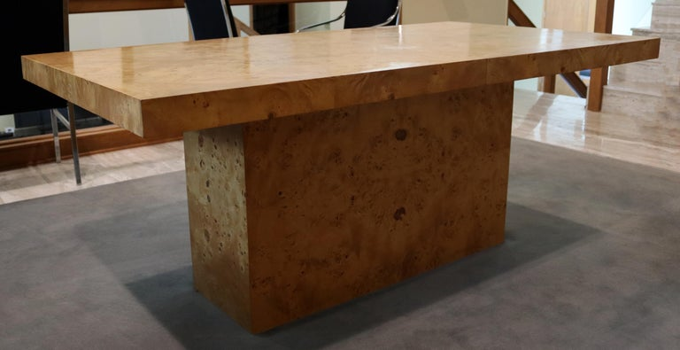 Late 20th Century Mid-Century Modern Milo Baughman Burl Wood Expandable Dining Table 2 Leaves 80s For Sale