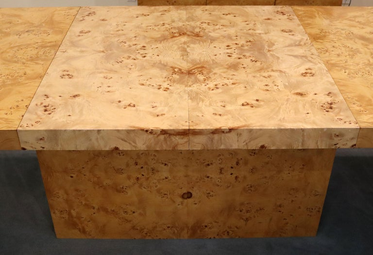 Mid-Century Modern Milo Baughman Burl Wood Expandable Dining Table 2 Leaves 80s For Sale 3
