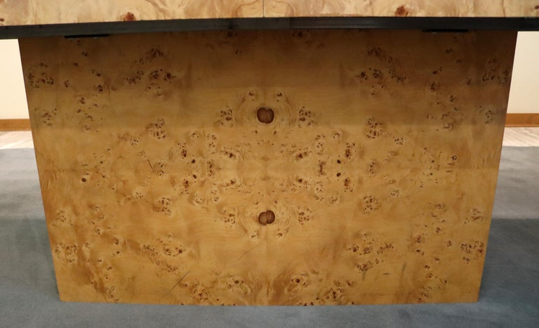 Mid-Century Modern Milo Baughman Burl Wood Expandable Dining Table 2 Leaves 80s For Sale 4
