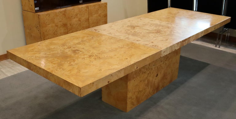 Mid-Century Modern Milo Baughman Burl Wood Expandable Dining Table 2 Leaves 80s For Sale 5