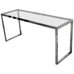 Mid-Century Modern Chrome and Glass Console Table, 1970s