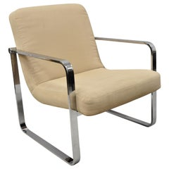 Mid-Century Modern Chrome Flat Bar Art Deco Club Lounge Armchair