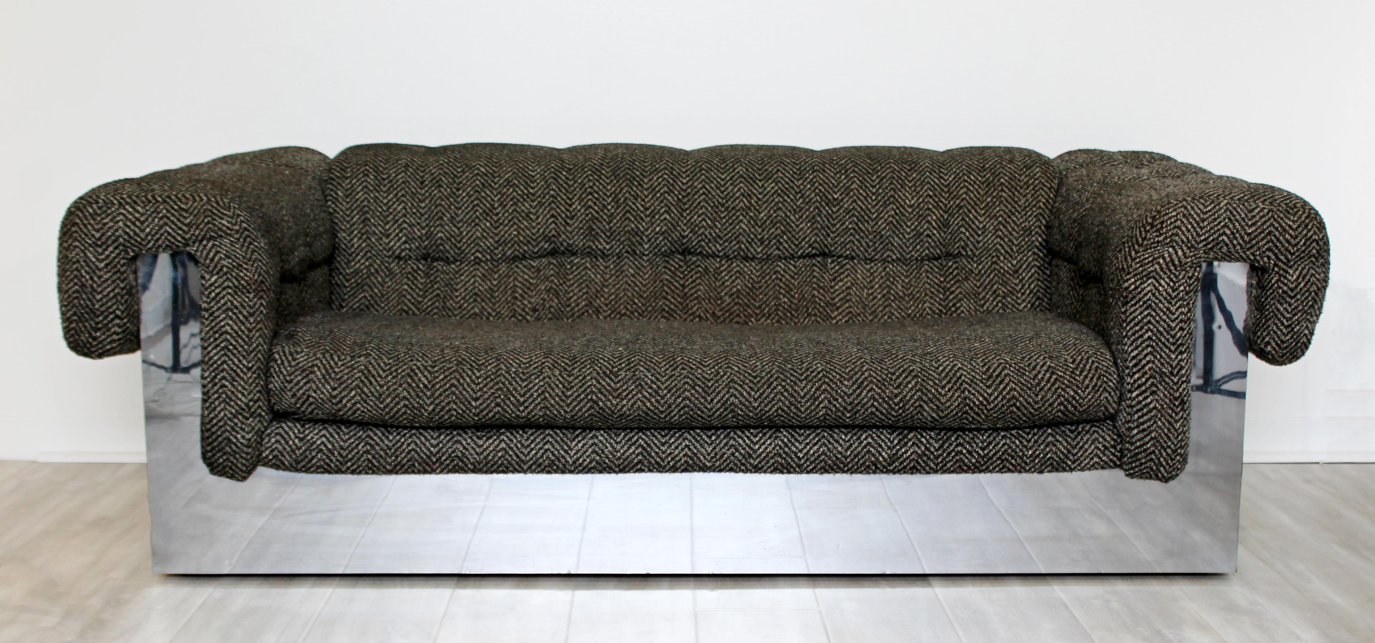 Mid Century Modern Milo Baughman Chrome Wrapped Tufted Sofa Loveseat, 1970s