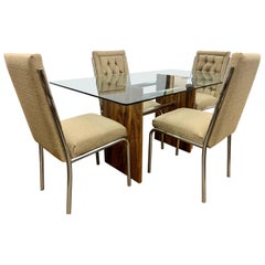 Mid-Century Modern Milo Baughman Style Dining Room Set Table and Four Chairs