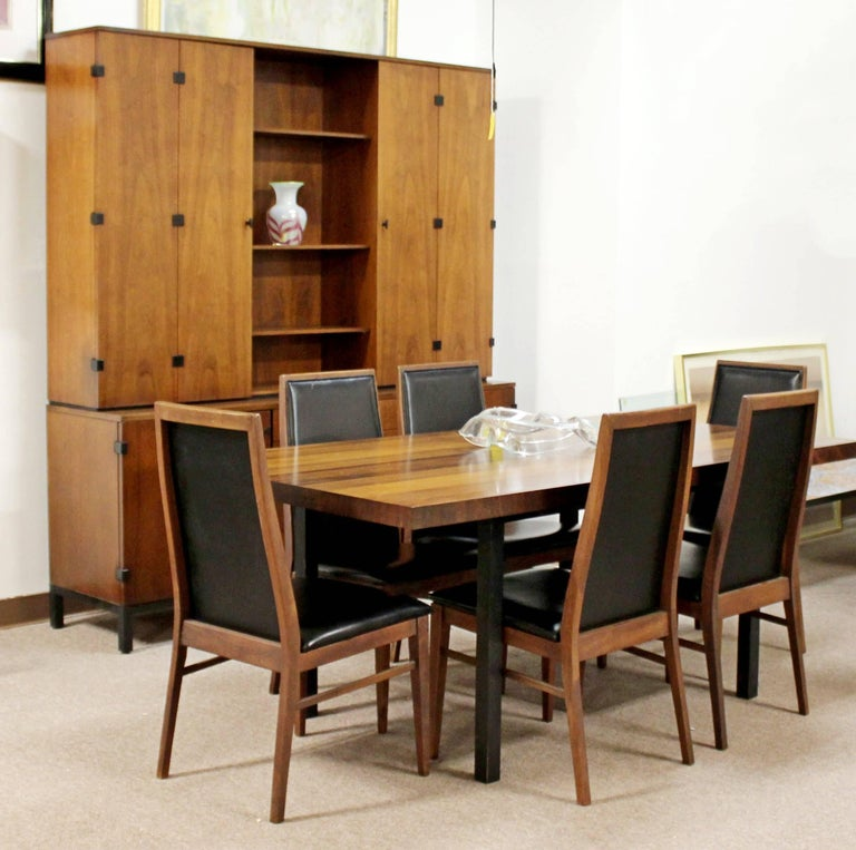 For your consideration is a magnificent dining set, including table by Milo Baughman for Directional with rosewood, walnut and ash, and six side chairs, by Milo Baughman for Dillingham, circa 1960s. In great vintage condition. The dimensions of the