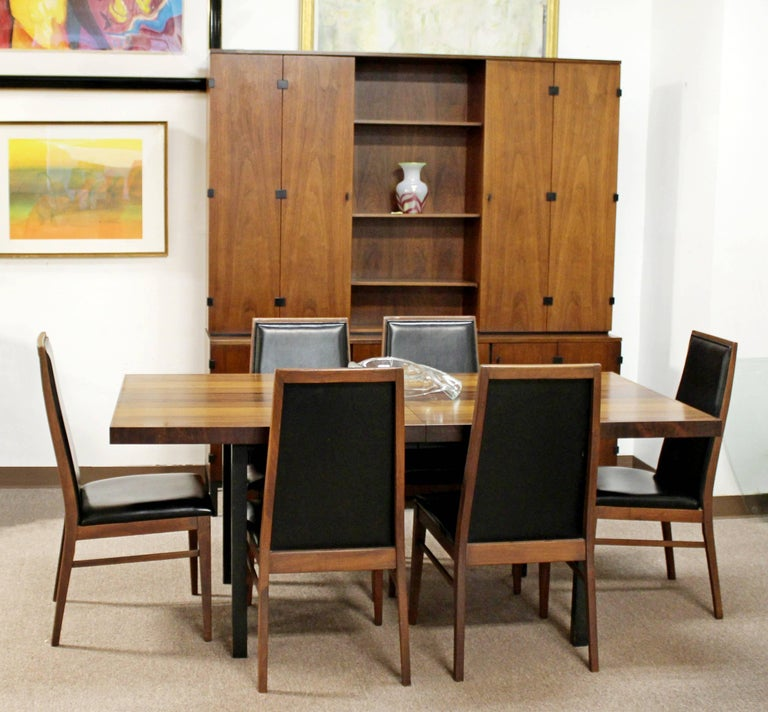 American Mid-Century Modern Milo Baughman Directional Dining Table Dillinghman Six Chairs For Sale