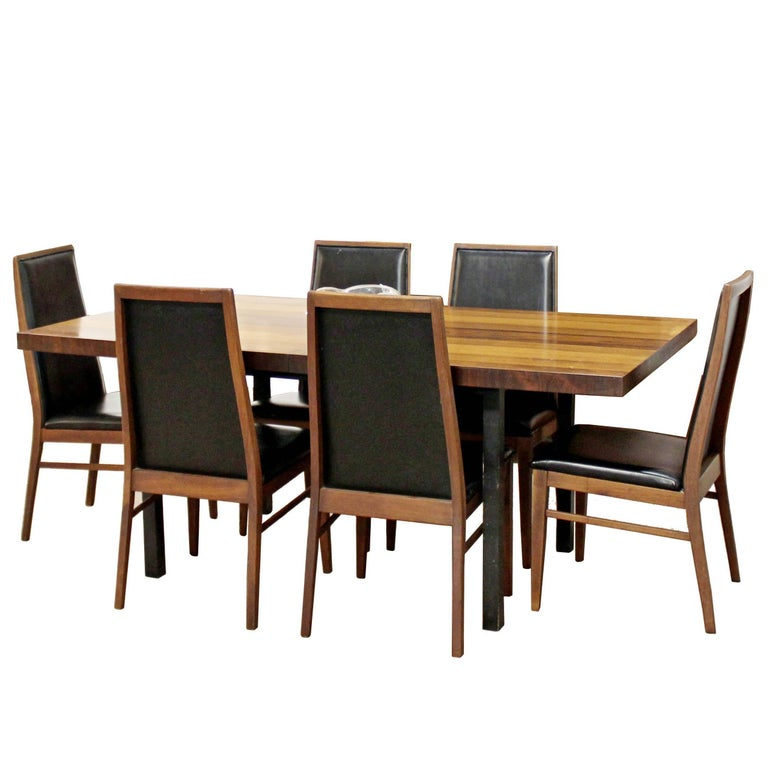 Mid-Century Modern Milo Baughman Directional Dining Table Dillinghman Six Chairs For Sale