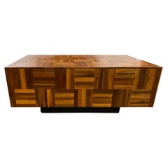 Mid-Century Modern Brutalist Floating Parquet Cocktail Coffee Table