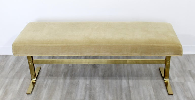 For your consideration is a brilliant, brass bench seat, for The Design Institute of America, circa 1970s. In excellent vintage condition. The dimensions are 49.5