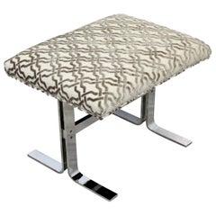 Mid-Century Modern Milo Baughman for DIA Velvet Chrome Bench Ottoman Seat, 1970s