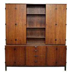 Mid-Century Modern Merton Gershun for Dillingham Walnut Credenza and Hutch, 60's