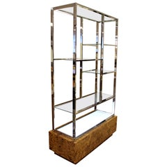 Mid-Century Modern Milo Baughman Light Up Chrome Burl Wood Etagere Glass Shelves