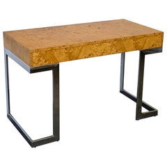Mid-Century Modern Arthur Umanoff Olivewood Burl and Chrome Desk, circa 1978