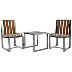 Mid-Century Modern Milo Baughman Pair of Chrome Flatbar Chairs Slate Table Set